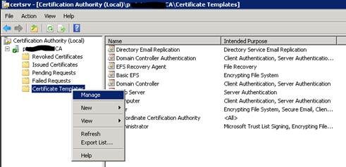 Issuing certificate from internal certificate authority to a expand your ca from the list right click certificate templates manage yadclub Images