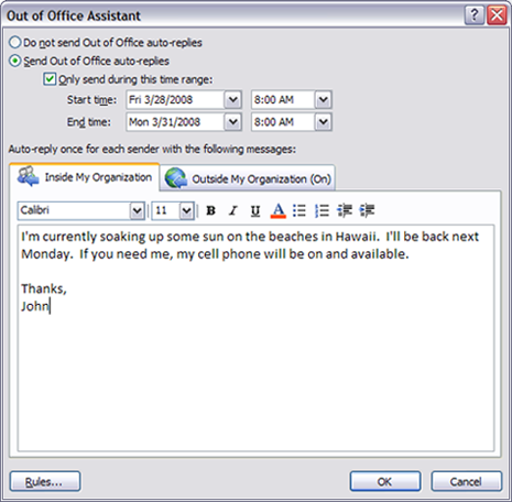 For Example, If I Were To Set An Out Of Office Message For Both Internal And  External, It Would Look Like This: [more]
