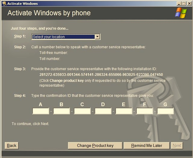how to change windows server 2008 product key serial